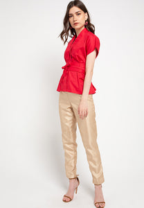 Basic Nyonya Cap Sleeve Top Red