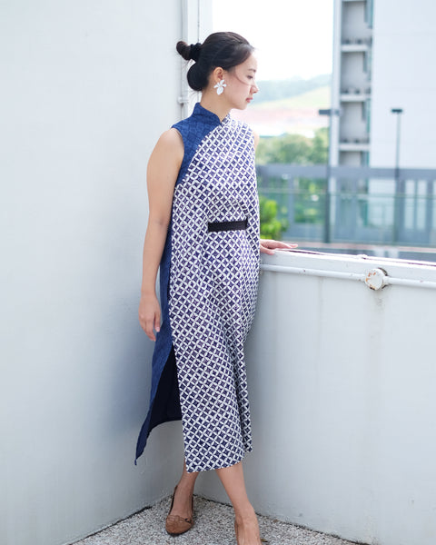 BATIK KAWUNG NAVY Cheongsam Dress