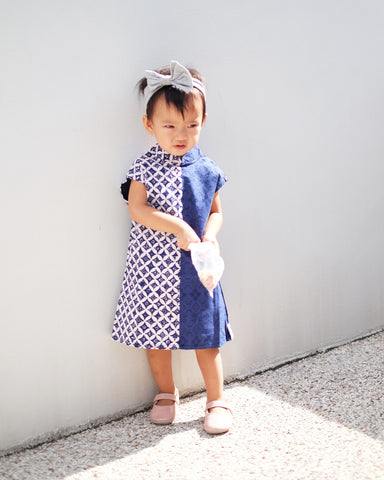 BATIK KAWUNG NAVY MiniMe Dress
