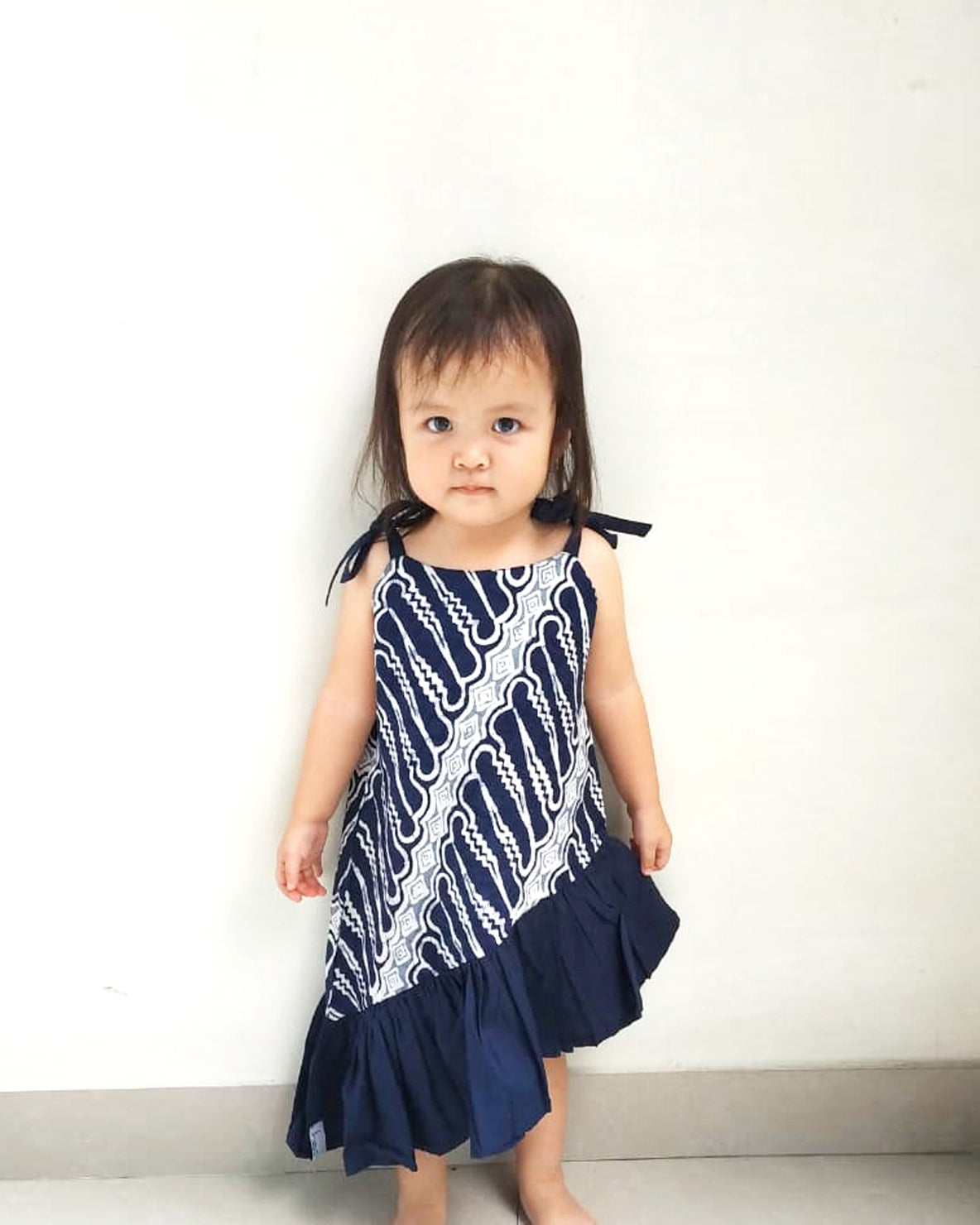 BATIK PARANG NAVY Mini Twirl Dress