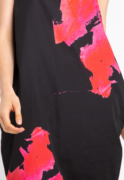 BLACK BLOOMS Tulip Dress