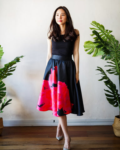BLACK BLOOMS Circle Skirt