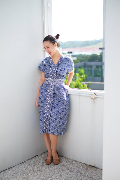 SEIGAIHA せいがいは Nyonya Dress NAVY