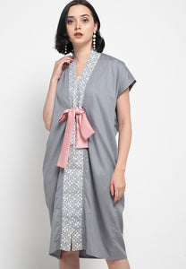 Basic Floral Nyonya Dress Grey