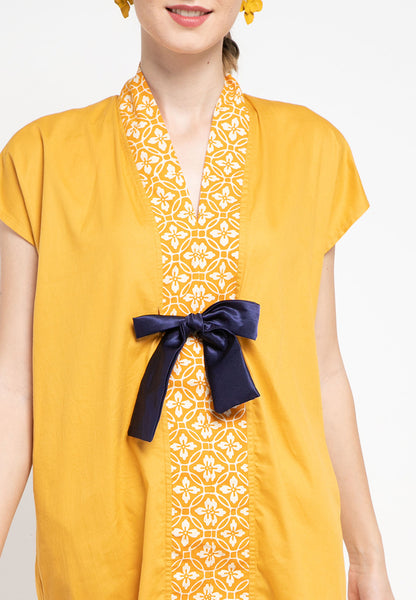 Basic Floral Nyonya Dress Mustard