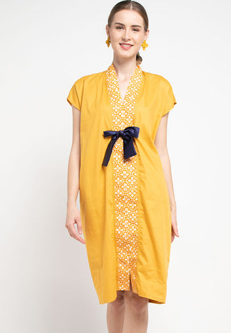 Basic Floral Nyonya Dress Mustard #sl