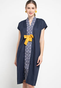 Basic Floral Nyonya Dress Navy