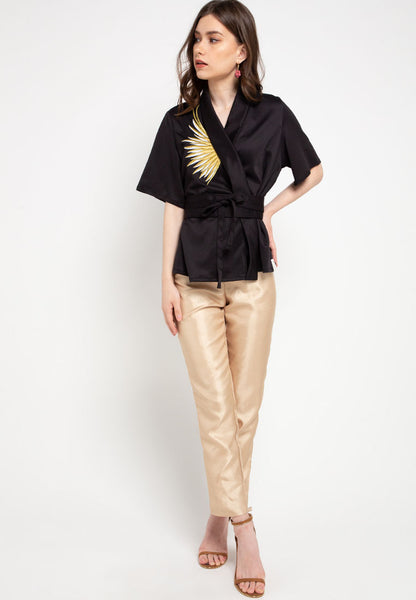 GOLDEN WINGS Black Kimono Top