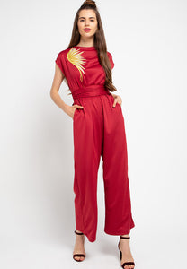 GOLDEN WINGS Red Jumpsuit In Lightweight Scuba