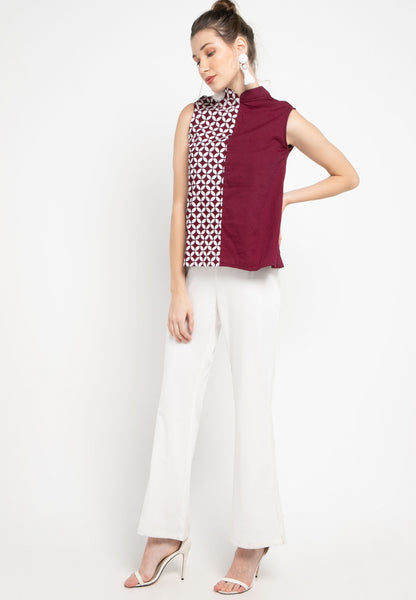 KAWUNG TILES Burgundy Asymmetrical Top BATIK #sl
