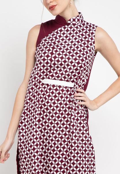KAWUNG TILES Burgundy Cheongsam Dress BATIK