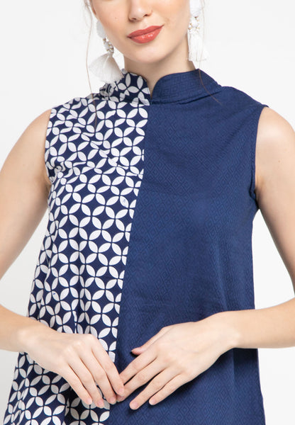 KAWUNG TILES Navy Asymmetrical Top BATIK #sl