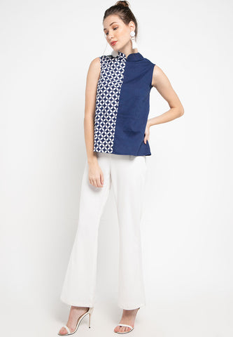KAWUNG TILES Navy Asymmetrical Top BATIK #cny