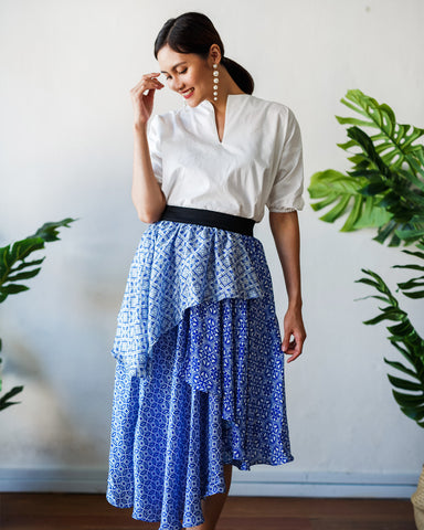 PERANAKAN BLU Layer Skirt