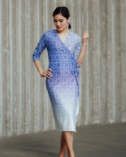 PERANAKAN BLU Wrap Dress