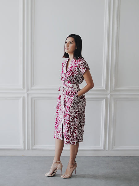 PORCELAIN Batik Burgundy Nyonya Dress