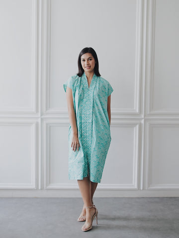SEIGAIHA せいがいは Batik Nyonya Dress Mint