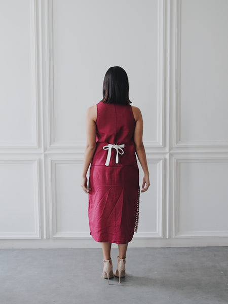 KAWUNG X BURGUNDY Cheongsam Dress BATIK