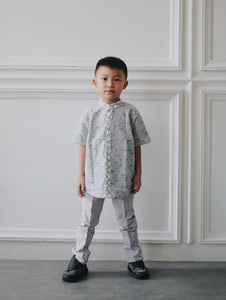SEIGAIHA せいがいは Batik Boy Shirt Grey