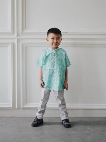 SEIGAIHA せいがいは Batik Boy Shirt Mint #cny