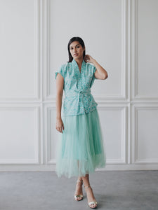 SEIGAIHA せいがいは Batik Nyonya Cap Sleeve Top Mint