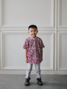 SEIGAIHA せいがいは Batik Boy Shirt Burgundy