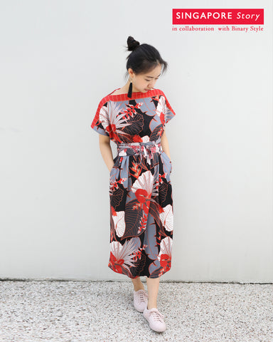 [SINGAPORE STORY] Tropical Garden Kimono Dress