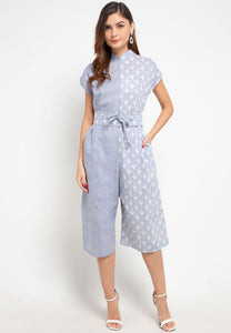 SEA SHELL GREY Batik Asymmetrical Jumpsuit