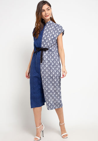 SEA SHELL NAVY Batik Asymmetrical Jumpsuit
