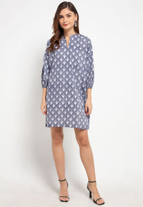 SEA SHELL NAVY Batik Tunic Dress