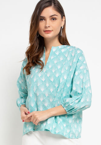 SEA SHELL MINT Batik Tunic Shirt