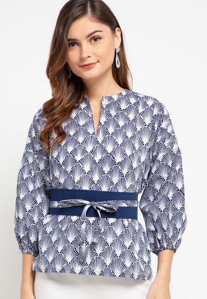 SEA SHELL NAVY Batik Tunic Shirt
