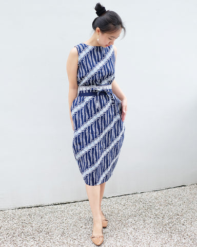 Tulip Dress BATIK PARANG NAVY