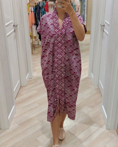 SEIGAIHA せいがいは Batik Nyonya Dress Burgundy