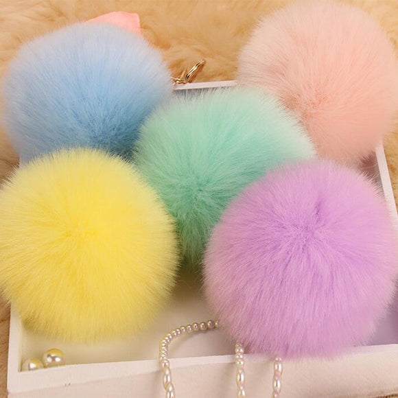 FLUFFY BALL KEYCHAIN POMPOM RABBIT FUR BAG CAR KEY RINGS WOMEN KEYCHAINS