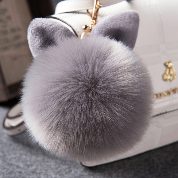 RABBIT EAR POMPOM KEYCHAIN FUR BALL KEY RING WOMEN FLUFFY KEY RING