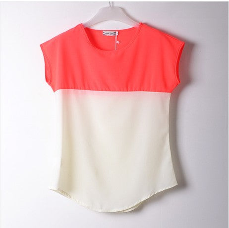 WOMEN SHORT SLEEVE CHIFFON TOP PLUS SIZE LOOSE TSHIRT STITCHING COLOR CAMBRIC