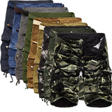 MEN CARGO MILITARY SHORTS CAMOUFLAGE LOOSE CASUAL POCKETS ZIPPER FLY.