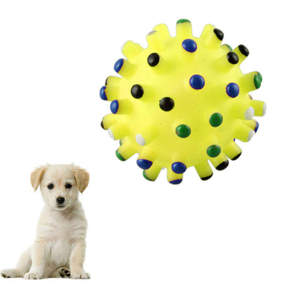 PET BALL TOY DOG CAT PLAY SQUEAKY SQUEAKER QUACK SOUND CHEW TREAT HOLDER.