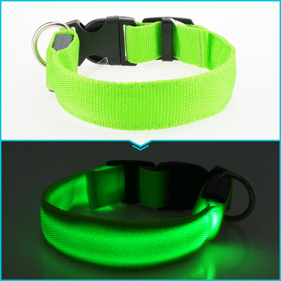 PET COLLAR LED NYLON HARNESS SAFETY NIGHT LIGHT UP FLASHING DOG CATS PET ACCESSO