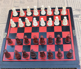 BOARD GAME CHESSBOARD ANTIQUE MINIATURE WOODEN TABLE CHESS BOX RETRO STYLE.
