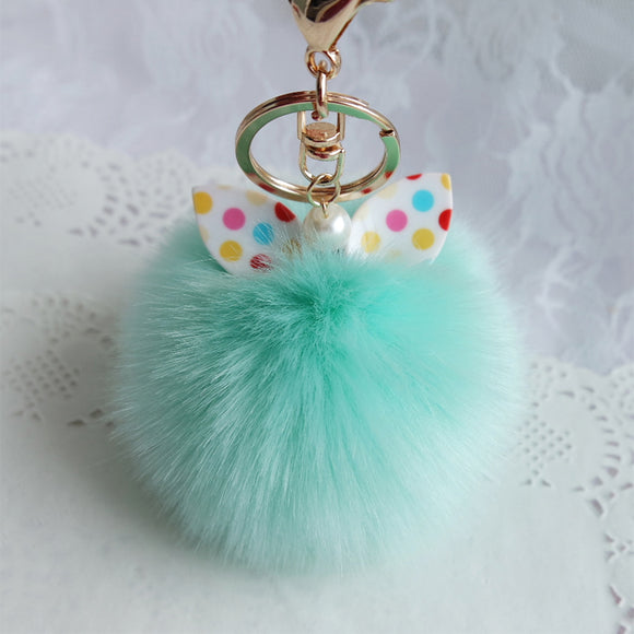 KEYCHAIN FLUFFY BALL POMPOM  BOW KNOT ARTIFICIAL RABBIT FUR CAR BAG KEY RING.