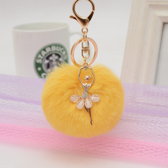 WOMEN KEYCHAIN PENDANT ANGEL GIRL POMPOM FLUFFY BALL KEYRING ARTIFICIAL RABBIT FUR CAR BAG.