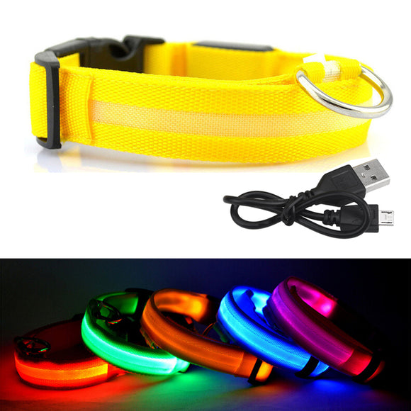 PET COLLAR USB RECHARGEABLE LED LIGHT SAFETY NIGHT FLASHING DOG CATS PET ACCESSO