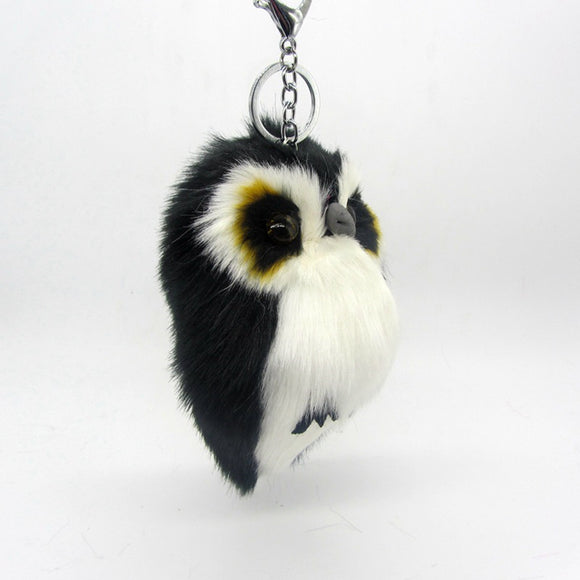 ANIMAL CHARMS OWL KEYCHAIN RABBIT FUR FLUFFY BALL POMPOM WOMEN TRINKET KEYCHAINS