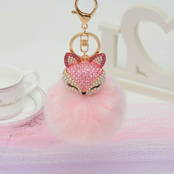 WOMEN JEWELRY KEYCHAIN RHINESTONE  FLUFFY POMPOM CRYSTAL FOX BALL CUTE ANIMAL HEAD ARTIFICIAL RABBIT FUR.