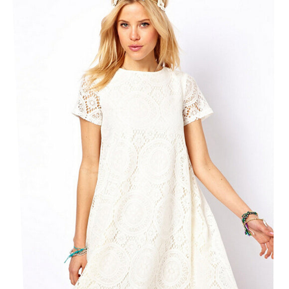 WOMEN SHORT SLEEVE LACE CASUAL MINI DRESS O-NECK PLUS SIZE SUMMER S-3XL