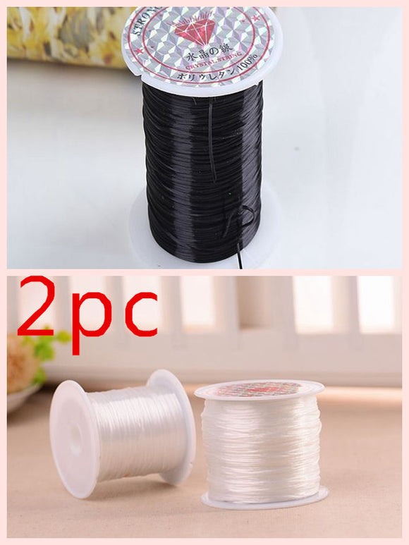 THREAD CORD STRING 2PCS. ELASTIC STRETCH JEWELRY BRACELET MAKING BEADING ACCESSORIES.