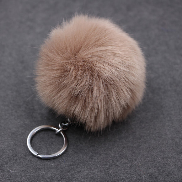 KEYCHAIN COLORFUL FLUFFY BALL POMPOM KEY PENDANT CAR BAG KEY RING JEWELRY.