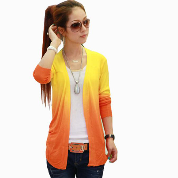 WOMEN LONG SLEEVE SOLID OUTER WEAR GRADIENT COLOR BATWING THREE QUARTER SWEATER